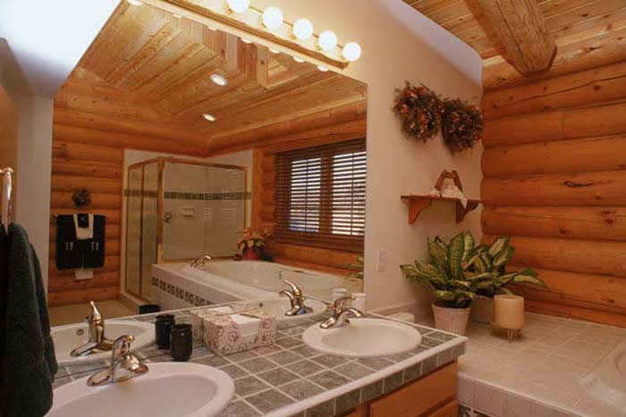 Log home interior photos avalon log homes Home bathroom designs